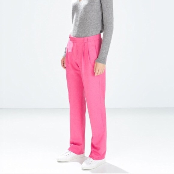 73263ede Zara Pants | Pink High Waist Trousers Bright Pink | Poshmark